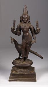Indian_Bronze_Figure_of_a_Standing_Deity_with_Peacock_19th_Century361_1